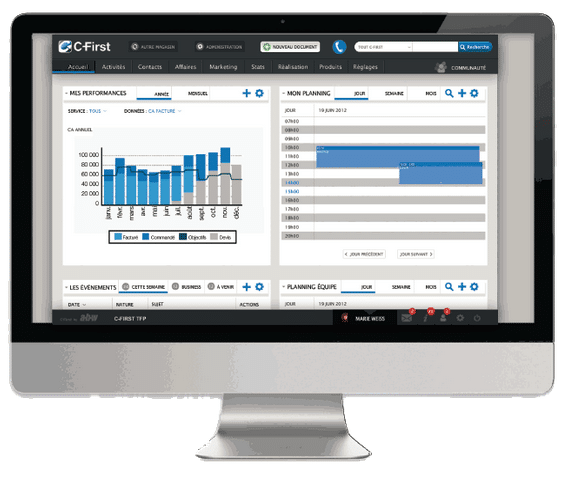 écran présentant le tableau de bord statistiques et taches commerciales
