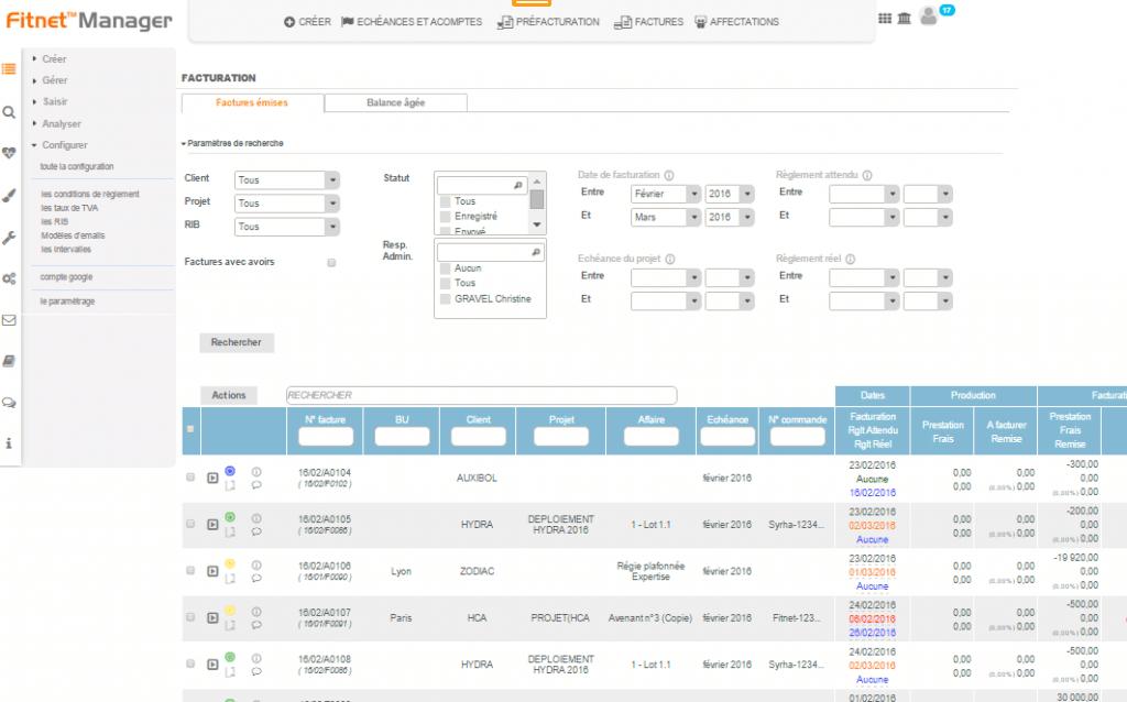 Capture d'écran logiciel FITNET MANAGER