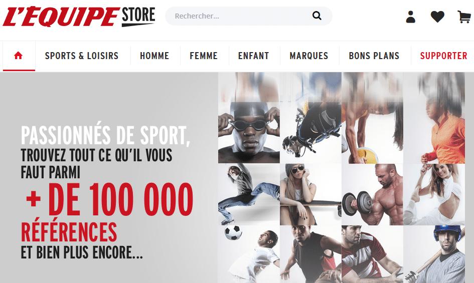 Capture du site e-commerce L'équipe Store