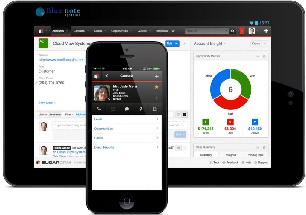 Le CRM par Blue Note Systems est en SaaS Cloud et mobile