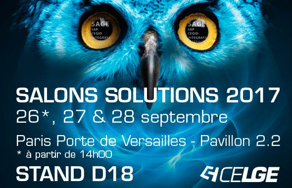 Retrouvez celge aux salons solutions 2017 celge - Salon paris septembre 2017 ...