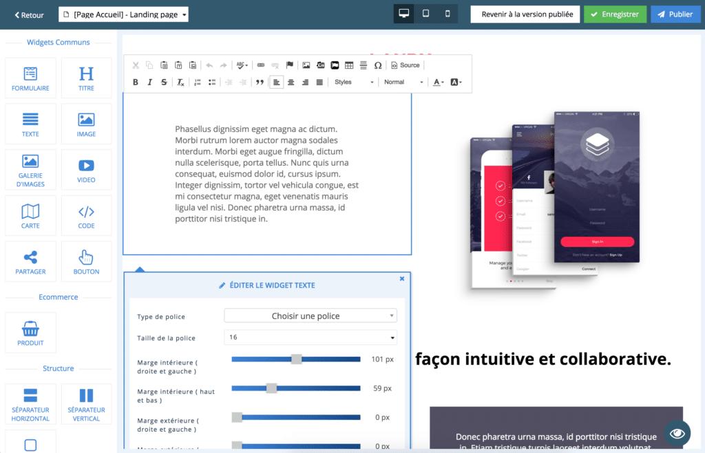 outil création site web, drag and drop