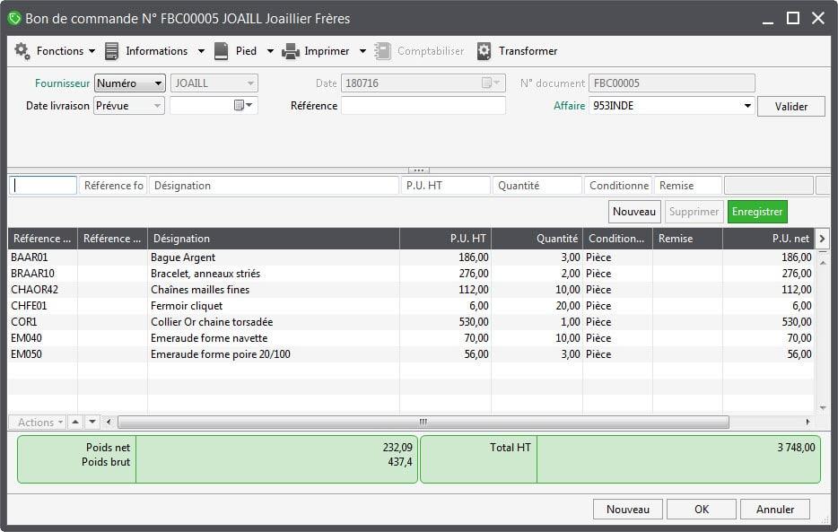 logiciel gestion Bon de commande