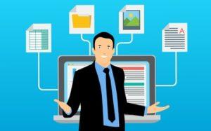 homme dessin données centralisées ordinateur