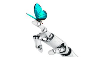 main robot avec papillon