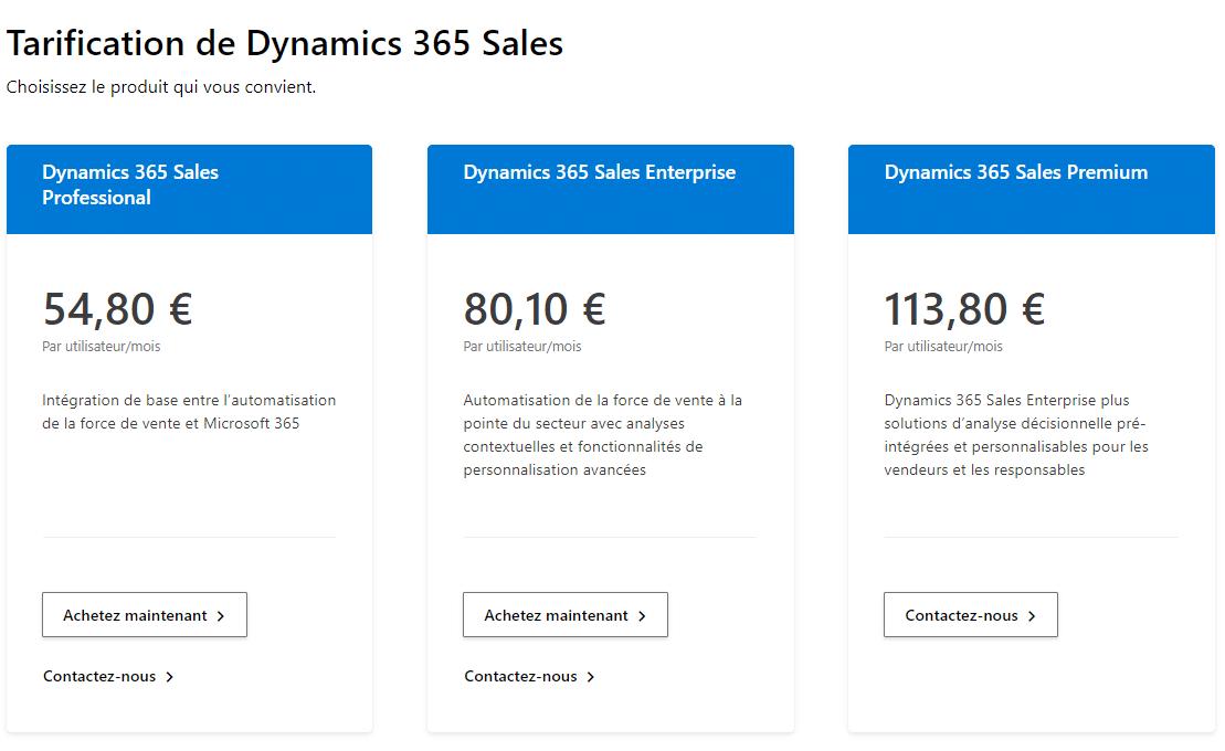 Tarification de Dynamics 365 Sales